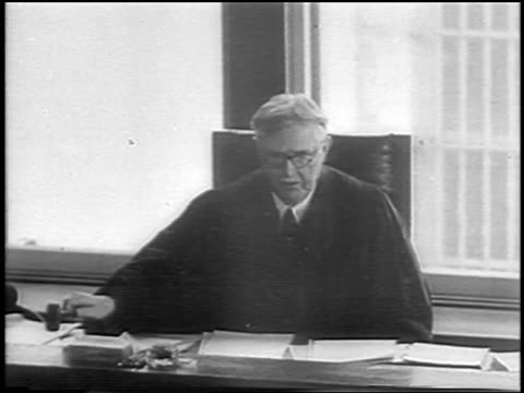 justice trenchard reading verdict in courtroom in lindbergh kidnapping trial / newsreel - 1935 stock videos & royalty-free footage