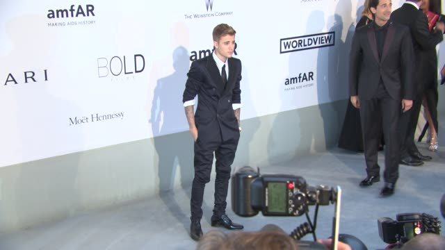 justin bieber at amfar red carpet at hotel du capedenroc on may 22 2014 in cap d'antibes france - justin bieber stock videos & royalty-free footage