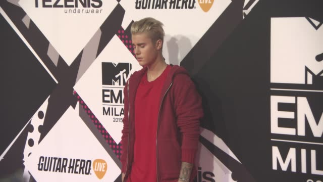 justin bieber at mtv europe music awards on october 25 2015 in milan - justin bieber stock videos & royalty-free footage
