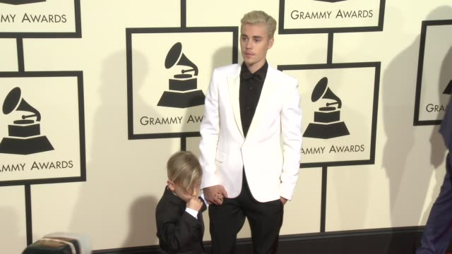 justin bieber at the 58th annual grammy awards® - arrivals at staples center on february 15, 2016 in los angeles, california. - grammy awards stock videos & royalty-free footage