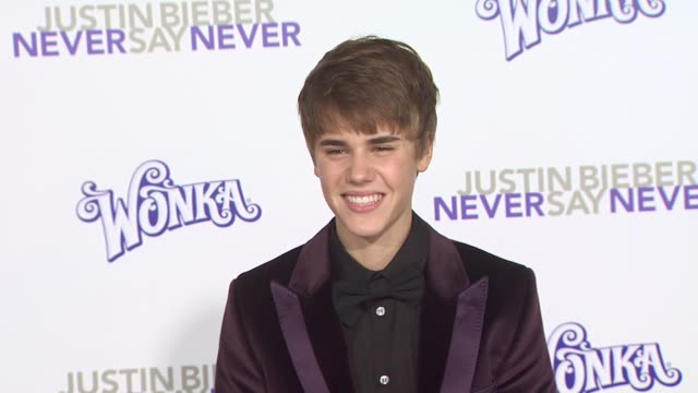 justin bieber at the 'justin bieber never say never' premiere at los angeles ca - justin bieber stock videos & royalty-free footage