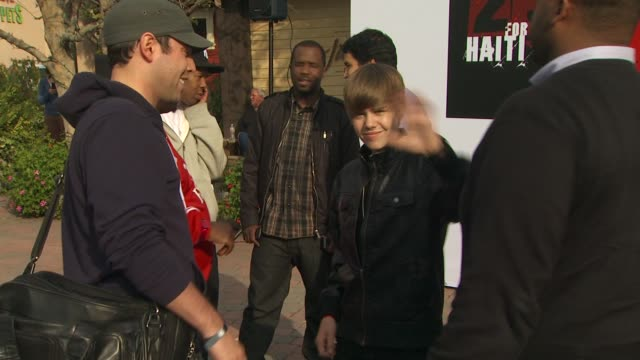 Justin Bieber at the We Are The World 25th Anniversary Recording For Haitian Earthquake Relief at Los Angeles CA