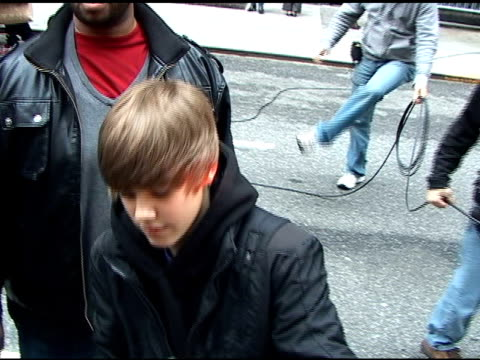 justin bieber outside the 'late show with david letterman' studio at the celebrity sightings in new york at new york ny - justin bieber stock videos & royalty-free footage