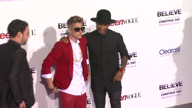 justin bieber, usher and scooter braun at justin bieber's believe premiere in los angeles, ca on 12/18/13 - usher stock videos & royalty-free footage