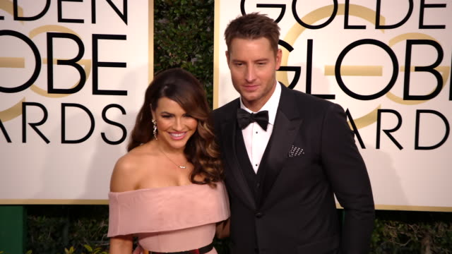 justin hartley and chrishell stause at the 74th annual golden globe awards arrivals at the beverly hilton hotel on january 08 2017 in beverly hills... - ビバリーヒルトンホテル点の映像素材/bロール