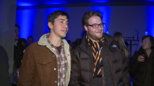 justin long and seth rogen at grey goose blue door lounge in park city utah on 1/21/2012 - seth rogen stock videos and b-roll footage