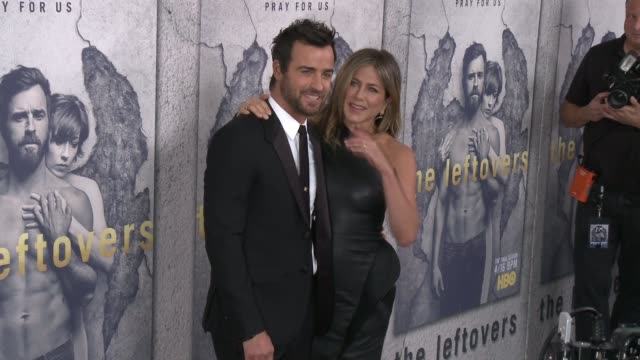 justin theroux and jennifer aniston at the premiere of hbo's the leftovers season 3 at avalon hollywood on april 04 2017 in los angeles california - jennifer aniston stock videos & royalty-free footage