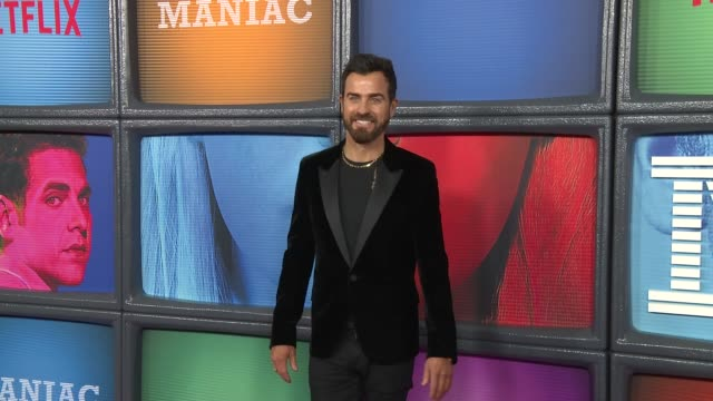 "vídeos de stock, filmes e b-roll de justin theroux at a netflix original series ""maniac"" new york premiere at center 415 on september 20, 2018 in new york city. - estreia"