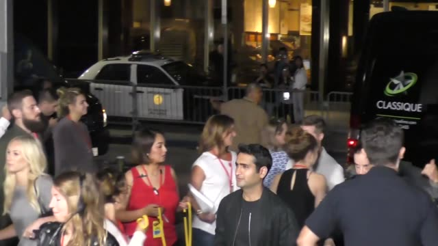 justin theroux kumail nanjiani outside conan o'brien's comic con special at spreckels theatre in san diego in celebrity sightings in san diego - conan o'brien stock videos and b-roll footage
