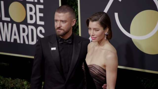 justin timberlake and jessica biel at the 75th annual golden globe awards at the beverly hilton hotel on january 07 2018 in beverly hills california - justin timberlake stock-videos und b-roll-filmmaterial