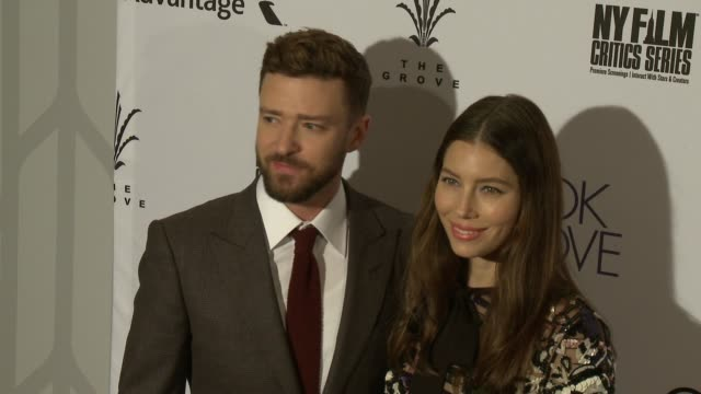"justin timberlake and jessica biel at ""the book of love"" los angeles premiere at pacific theatre at the grove on january 10, 2017 in los angeles,... - justin timberlake stock videos & royalty-free footage"