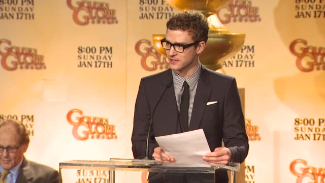 justin timberlake announces the 67th annual golden globe awards nominations at the 67th annual golden globe awards nominations announcement at... - justin timberlake stock-videos und b-roll-filmmaterial