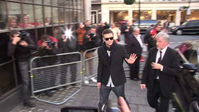 justin timberlake arrives at bbc radio one studios to promote his new movie ' in time ' sighted: justin timberlake at bbc studios on november 01,... - justin timberlake stock videos & royalty-free footage