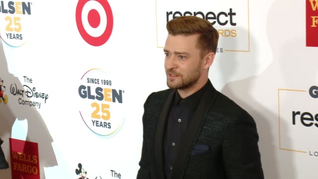 justin timberlake at 11th annual glsen respect awards – los angeles in los angeles ca - justin timberlake stock-videos und b-roll-filmmaterial
