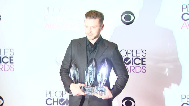 justin timberlake at the 40th annual people's choice awards photo room at nokia theatre la live on in los angeles california - people's choice awards stock videos & royalty-free footage