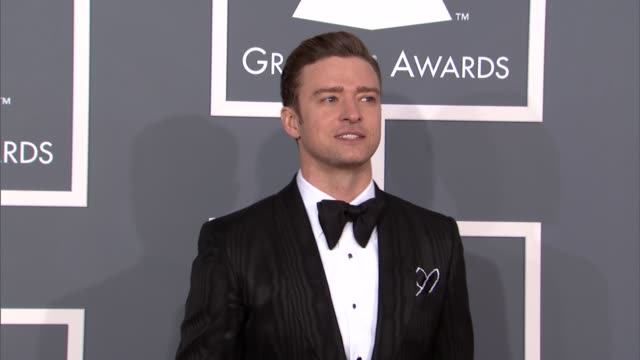 justin timberlake at the 55th annual grammy awards arrivals in los angeles ca on 2/10/13 - justin timberlake stock-videos und b-roll-filmmaterial