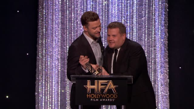 speech justin timberlake james corden at 20th annual hollywood film awards in los angeles ca - justin timberlake stock-videos und b-roll-filmmaterial