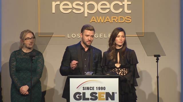 speech justin timberlake jessica biel at 11th annual glsen respect awards – los angeles in los angeles ca - justin timberlake stock videos & royalty-free footage