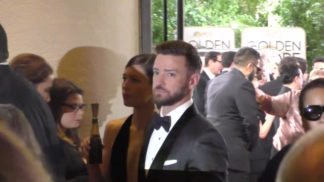 justin timberlake jessica biel outside the golden globe awards at beverly hilton hotel in beverly hills in celebrity sightings in los angeles - justin timberlake stock-videos und b-roll-filmmaterial