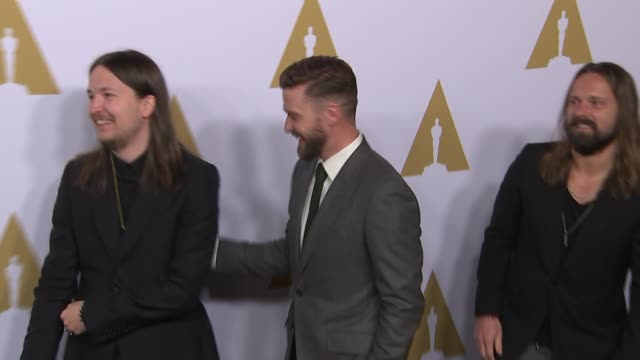 justin timberlake max martin and shellback at the 89th annual academy awards nominee luncheon at the beverly hilton hotel on february 06 2017 in... - justin timberlake stock-videos und b-roll-filmmaterial