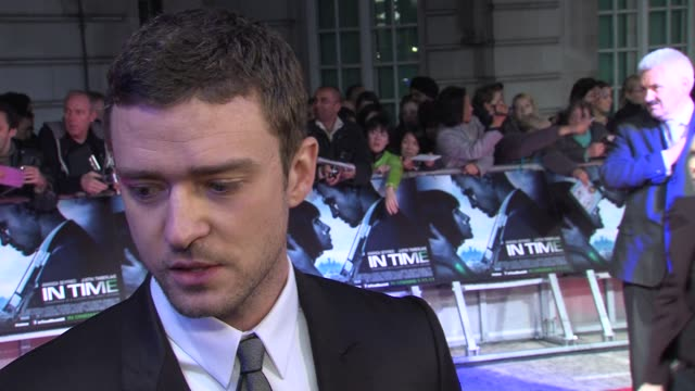 justin timberlake on on being in a leading role, what he admired in the character, what he would do if in that situation at the in time: uk premiere... - justin timberlake stock videos & royalty-free footage