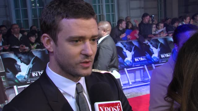 justin timberlake on the story of the film, aging, on enjoying his 30's at the in time: uk premiere at london england. - justin timberlake stock videos & royalty-free footage