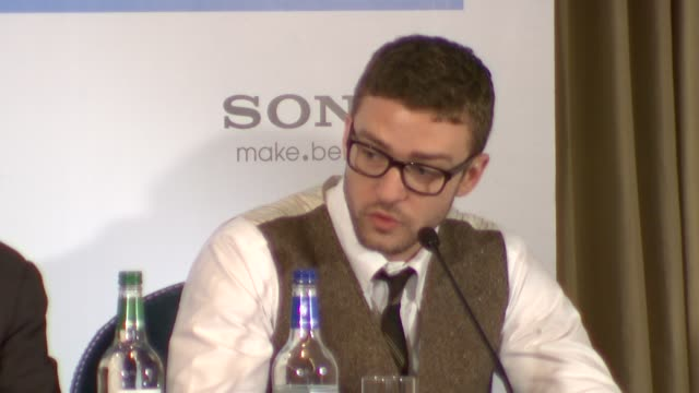 justin timberlake on why he wanted the role, on the screenplay, on the audition at the the social network press conference at london england. - justin timberlake stock videos & royalty-free footage