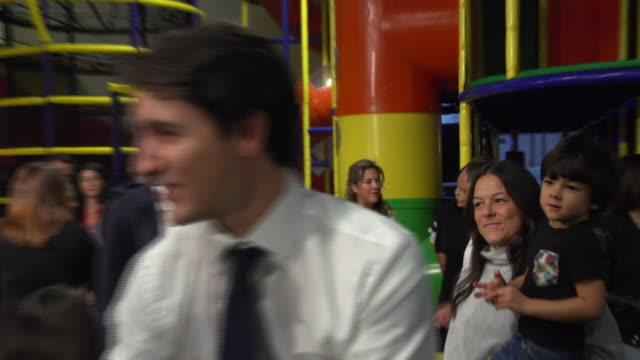 "justin trudeau greeting supporters on the campaign trail in montreal - ""bbc news"" stock videos & royalty-free footage"