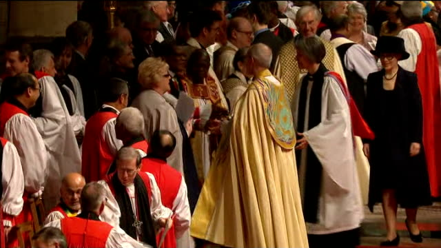 justin welby enthronement service as archbishop of canterbury justin welby committal sot / dean sot and all applaud / welby sot / welby congratulated... - archbishop stock videos & royalty-free footage