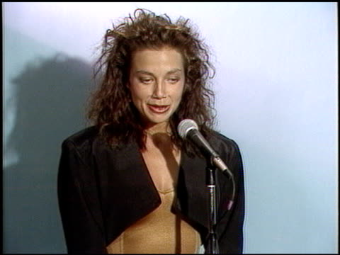 justine bateman at the 1987 emmy awards inside at the pasadena civic auditorium in pasadena california on september 20 1987 - 1987 stock videos & royalty-free footage