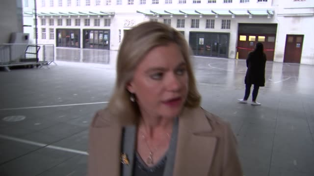 Justine Greening doorstep interview ENGLAND London BBC Broadcasting House EXT Justine Greening MP doorstep interview as along SOT re social mobility
