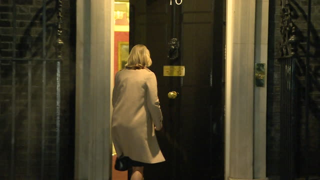 justine greening entering and leaving 10 downing street as she resigns from the cabinet as education secretary - 10 downing street stock videos & royalty-free footage