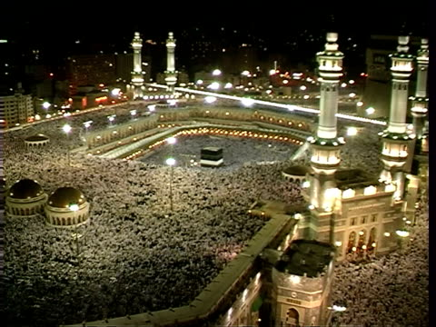 kaaba during prayers of great annual pilgrimage of muslims mecca saudi arabia audio - mosque stock videos & royalty-free footage