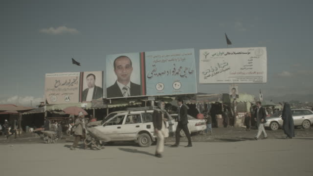 Kabul city streets with Presidential banners