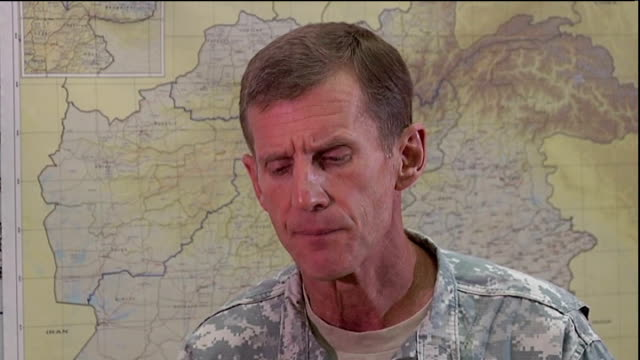 int mcchrystal interview sot the afghan people have bled for 30 years the coalition has bled for 9 years / so to me its important that what is shaped... - durability stock videos and b-roll footage