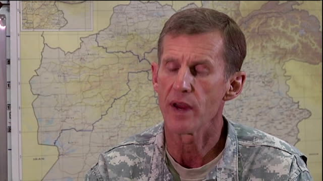kabul int reporter and general stanley mcchrystal looking at map general stanley mcchrystal interview sot it would be mistaken of me to predict but i... - vulnerability stock videos and b-roll footage