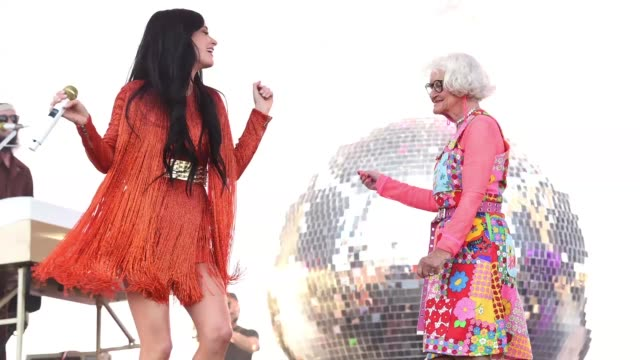 Kacey Musgraves and Baddiewinkle perform on Coachella Stage during the 2019 Coachella Valley Music And Arts Festival on April 12 2019 in Indio...