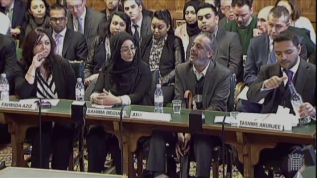 Kadiza Sultana's Cousin Fahmida Aziz Shamima Begum's sister Sahima Begum Amira Abase's father Hussen Abase Lawyer Tasnime Akunjee the solicitor for...