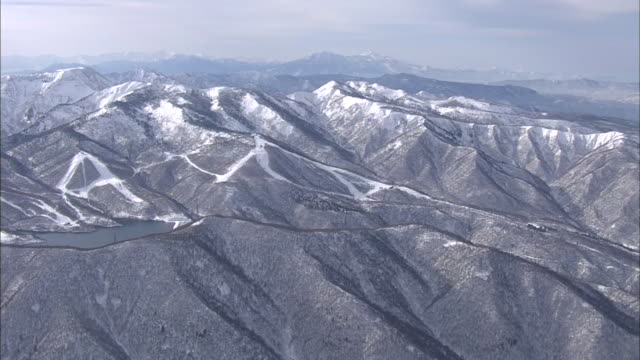 aerial, kagura ski resort, niigata, japan - kagura stock videos & royalty-free footage