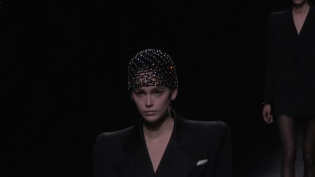 kaia gerber and fellow models on the runway for the the saint laurent ready to wear fall winter 2019 fashion show in paris paris, france on tuesday... - saint laurent stock videos & royalty-free footage