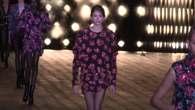 Kaia Gerber and her fellow models on the runway for the Saint Laurent Ready to Wear Fall Winter 2018 Fashion Show in Paris Paris France on Tuesday...