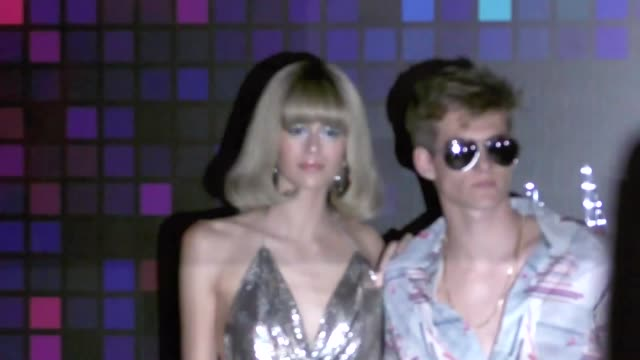 kaia gerber and presley walker gerber at the tequila casamigos halloween bash at tower records in west hollywood at celebrity sightings in los... - セレブリティ点の映像素材/bロール