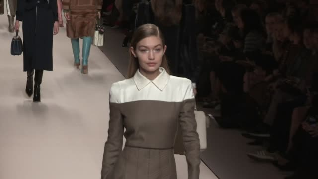 kaia gerber bella hadid gigi hadid adwoa aboah and their fellow models on the runway for the fendi ready to wear fall winter 2018 fashion show in... - catwalk stock videos & royalty-free footage
