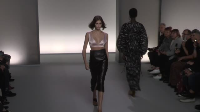 kaia gerber, fellow models and designer clare waight keller on the runway for the givenchy spring summer 2020 fashion show in paris paris, france on... - paris fashion week stock videos & royalty-free footage