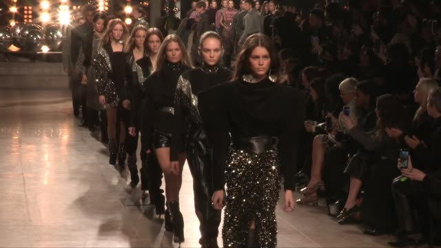 kaia gerber gigi hadid vittoria ceretti grace elizabeth their fellow models and designer on the runway for the isabel marant ready to wear fall... - grace elizabeth stock videos & royalty-free footage