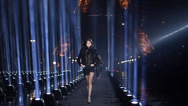 kaia gerber walks the runway during the saint laurent womenswear spring/summer 2020 show as part of paris fashion week on september 24, 2019 in... - saint laurent stock videos & royalty-free footage