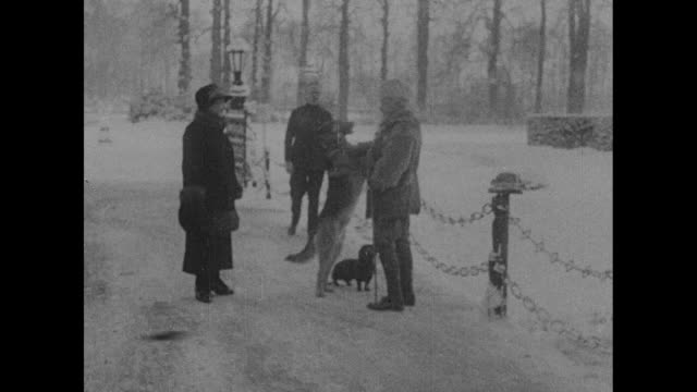 Kaiser Wilhelm II and his wife Empress Hermine stand in snowy landscape at Huis Doorn their exile home with two dogs and a man one big dog probably a...
