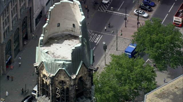 kaiser wilhelm memorial church - aerial view - berlin, berlin, city, germany - berlin stock videos & royalty-free footage