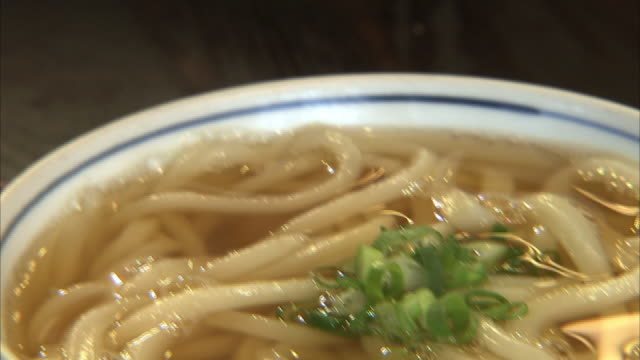 kake udon, wheat noodle with warm soup - 麺点の映像素材/bロール