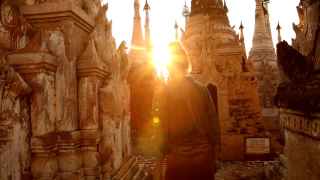 kakku pagodas sunset in taunggyi myanmar - pagoda stock videos and b-roll footage